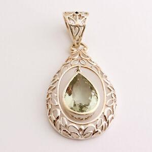 Exclusive Prasiolith Pendant 925 Silver Gems Green Amethyst