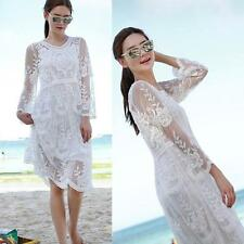 Crochet Mesh Lace Gyspy Beach White Swimsuit Bikini Cover Up Dress Kaftan  fger