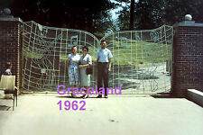 ELVIS PRESLEY 1962 GRACELAND MANSION WITH MUSICAL GATE WITH 3 FANS CANDID