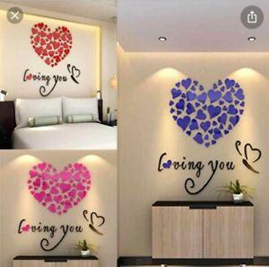 UK_ AM_ ROMANTIC LOVE 3D HEART LOVING YOU WALL STICKER DIY DECAL HOME OFFICE DEC