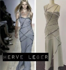 $2,790 HERVE LEGER beaded sculpted Bandage sz small formal gray GOWN.