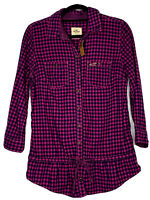 Hollister Ladies NWT Bettys Pink/Navy Plaid Flannel Top W/ Tie Waist Size L