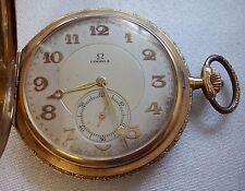 ANTIQUE OMEGA 18K SOLID GOLD ENGRAVED CASE POCKET WATCH 78,4 GRAMS