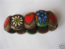 Armband aus Holz Edelweiß Herz Enzian Trachten Zugarmband Armreif handbemalt 92