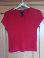 Ralph Lauren Ladies Red Ribbed V Neck Short Sleeve Cotton T Shirt, Small (8/10)