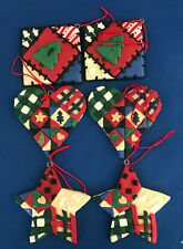 6 Soft Plastic Christmas ornaments Heart 2 Square /tree Star figures Holiday