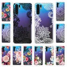 Para Huawei Mate 20 P30/20 Pro Lite Slim Pintado Floral Silicona Transparente Estuche Cubierta
