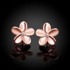 Frauen Rose Gold Plated Crystal Schöne kleine Blume Ohrstecker Ohrringe Solid