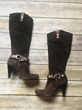 Vintage Dumond Brazil Women's Suede Leather Boots Heels Brown Size 7