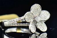 Diamond Flower Cocktail Ring Ladies 10K White Gold Round Pave Fashion 1/2 Tcw.