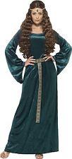 Green Medieval Maid Costume Ladies Fancy Dress Size 8-26 Headband Smiffys 45497 M - Medium