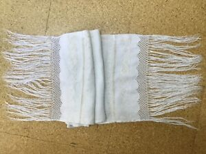 """Vintage Linen Table Sideboard Runner with Embroidery, Crochet Lace & Fringe 47"""""""
