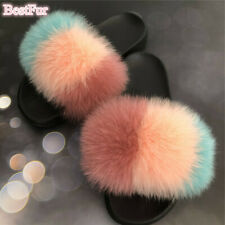 Women's Slides Real Fox Fur Slippers Summer Sandals Indoor Outdoor Fuffly shoes