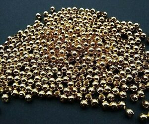 400 Gold Plated Smooth Round Metal Spacer Beads 2mm.