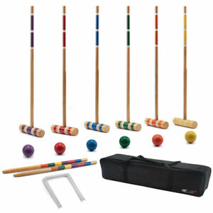6-Player Complete Croquet Set with Case for Adults & Kids Backyard Lawn Game
