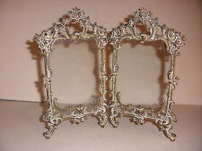 "Antique Victorian Fancy Brass Double Picture Frame  9""x5"" for 6""x 4.25"" photo"
