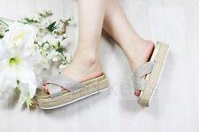 Ladies Womens Slip on Diamante Flatform Sliders Slippers Mules Summer Shoes Size Gold Uk5 Eu38