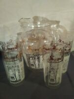 Vtg Amish/PA Dutch Glass Pitcher & 4 Tumblers Early Federal Amish Lady and Man