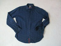 Robert Graham Button Up Shirt Adult Large Navy Blue Flip Cuff Casual Mens *