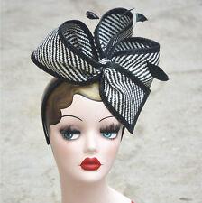 Womens Sinamay Fascinator Cocktail Hat Wedding Church Party Headband T163 Gray