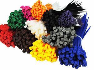600 Kabelbinder Set UV stabil bunt Sortiment farbig Nylon 100 mm x 2,5 gelb grün