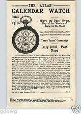 1920's PAPER AD Atlas Calendar Pocket Watch 5 Dial Moon Phase Leonard Military