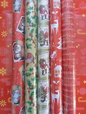 **5 X 10M ROLLS CHRISTMAS XMAS WRAPPING PAPER Traditional DESIGNS-HOLY-SANTA**