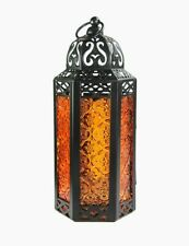 Set of 3 Moroccan Style Candle Lanterns - Orange / Amber
