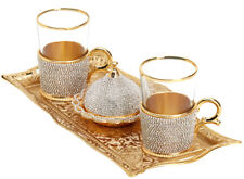 Turkish Tea Glasses with Holders & Sugar Bowl Set, Coated w Crystals, 200ml Gold
