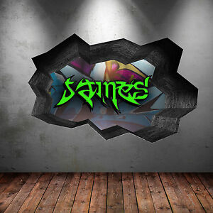 FULLCOLOUR PERSONALISED 3D GRAFFITI NAME CRACKED WALL STICKER DECAL MURAL WSD120
