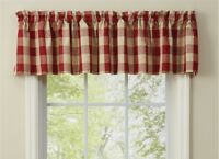 "GARNET TAN BUFFALO CHECK Unlined Window Valance 72"" x 14"" Wicklow Park Designs"