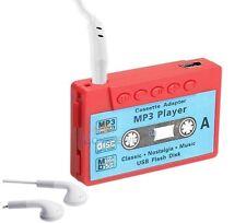 Lecteur MP3 à carte mémoire en forme de cassette (Vintage) + écouteurs - Rouge
