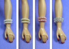 Barbie Dreamz WHITE PINK CREAM PEARL & CRYSTAL Snake Bracelet LOT Vintage REPRO