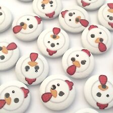 10 x painted white wood 15mm buttons with chicken design, childrens knits,