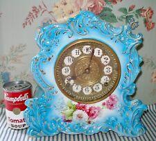 c.1900 Gilbert Porcelain/China Mantel Clock, Chrysanthemums, Antique, Runs Well