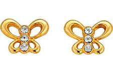 9ct Gold Crystal Set Butterfly Studs Earrings Girl Gift  8mm
