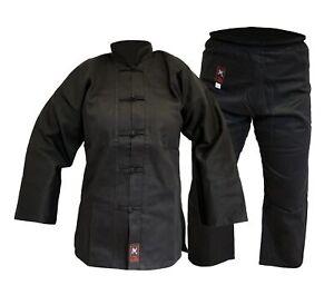 Kung Fu Anzug Shaolin komplett schwarz ohne Bündchen am Hosenbein