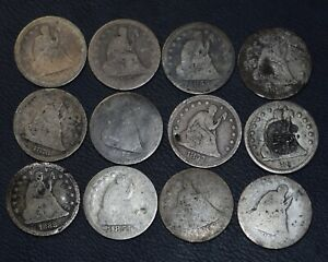 12 Seated Liberty Quarter lot