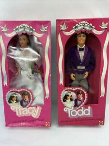 1982 Vintage Mattel Tracy and Todd Wedding Bride and Groom Set #2 -(A1)