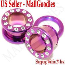 """Flesh Tunnels 1/2"""" Inch Ear Plugs 12.7mm 0976 Hot Pink Steel Screw-on Fit Cz"""