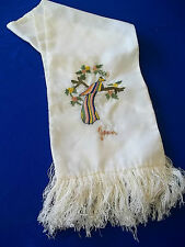 "Vintage Silk Scarf name "" Joan "" Ww2 Japan 9 x 48"" w/ Fringe Bird Embroidery"