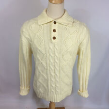 Mens Vtg 70s Cable Knit Acrylic White Sears Sportswear Sweater Henley XL Tall