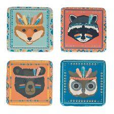 Sass & Belle Set of 4 Adventure Animal Coasters Fox Raccoon Owl Bear Home