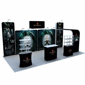 TRADE SHOW BOOTH DISPLAY Sets CUSTOM 20' POP OUT BANNER STAND with Counter Shelf