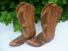 Womans/ Ladies Tony Mora Brown & Tan Leather Cowboy Boots, Vintage size 36