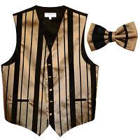 New formal men's tuxedo vest waistcoat & bowtie vertical stripes black mocca
