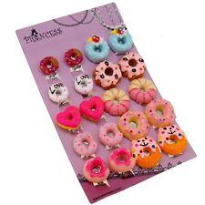 Colorful Cute Doughnut Clip-on Non Pierced Earrings for Teen Girls Women Gift