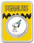 2021 1 Oz Silver SNOOPY & WOODSTOCK CELEBRATE PEANUTS® Colorized Round In Assay.