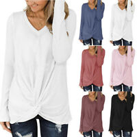 Women Long Sleeve Casual Loose T Shirt Solid Fit Tunic V Neck Solid Tops Blouse
