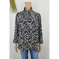 Chicos Zenergy Jacket Zip Up Zebra Print Light Weight Womens Size L 12